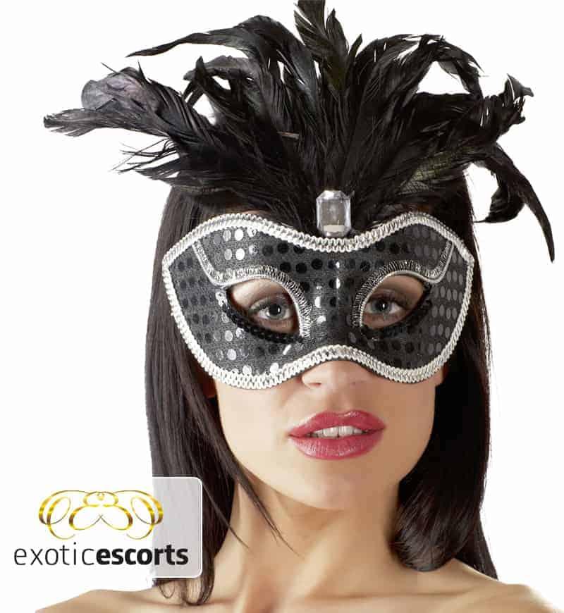 Maske-Feder_schwarz-silber---Exotic-Escorts